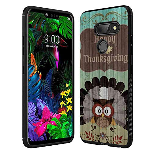 Case TPU+PC Fit LG G8 ThinQ 6.1-Inch Feather Harvest Holiday Owl Texture Thanksgiving Turkey Wood