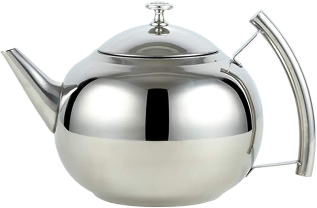 Anchor1 Teakettle Stainless Steel Tea Pot Coffee Pot with Filter Hotel Restaurant Induction Cooker Tea Kettle Water Pot 1L/1.5L (Color : Silver 1L)