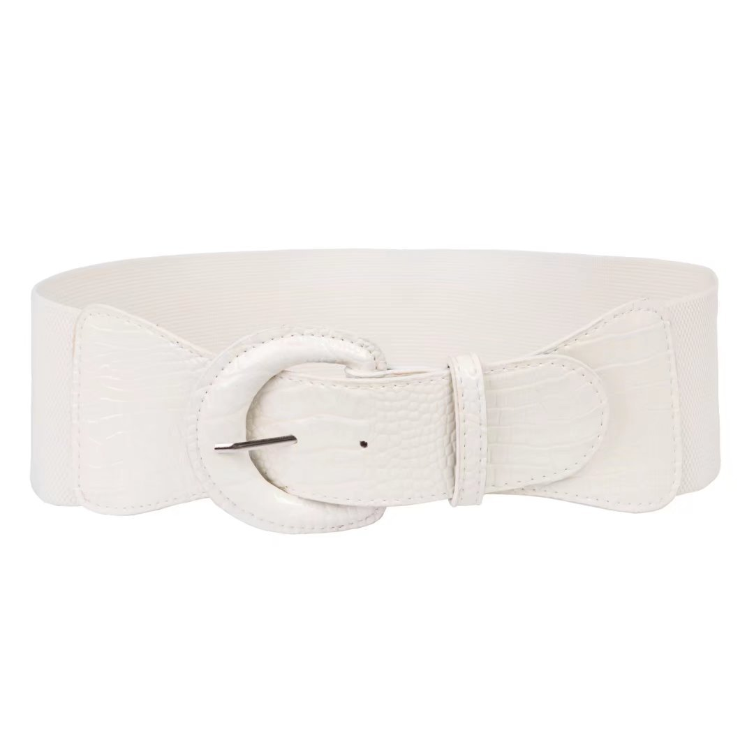 Sexy Corset Chunky Belts with Big and Round Buckle (S,White 469-10)