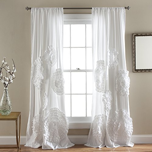 Lush Decor Serena Window Curtain Panel, 84 x 54″, White