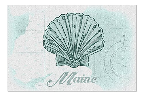 Maine - Scallop Shell - Teal - Coastal Icon (20x30 Premium 1000 Piece Jigsaw Puzzle, Made in USA!)
