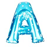 #4: CSSD A to Z Letter Wave Point Foil Balloons Party Ballon Blue 16 inch