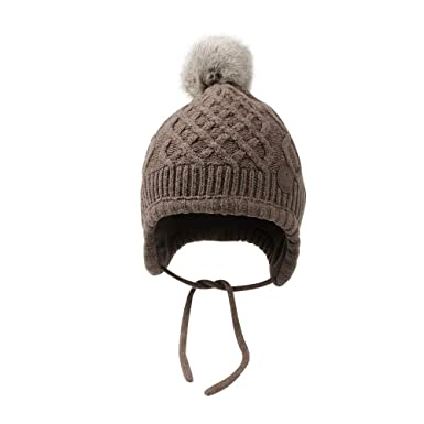 0a895ab814b384 XIAOHAWANG Toddler Infant Winter Beanie with Hairball Unisex Polar Knit  Kids Hat with Earflap Cute Fleece