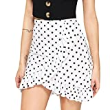 2018 Fashion!BCDshop Women Ruffle Dot Print Skirt Wrap Mini Short Skirt Bodycon Dress (White, XL)