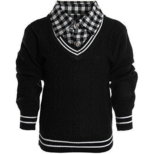 Kinder Hoodie Strick Pullover Jacke Langarm Sweat Shirt Kapuzen Sweatjacke 20589, Farbe:Schwarz;Größe:128
