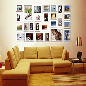 26 piece wooden wall hanging collage photo picture frame wall art wood art home decor multi piece photo frame set white s5620 - Multi Frame Wall Art
