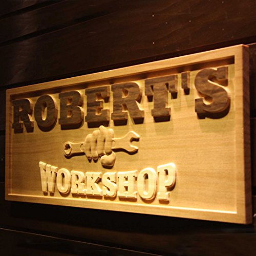 Personalized Workshop Sign (AdvPro Wood Custom wpa0218 Name Personalized WORKSHOP Garage Man Cave Wood Engraved Wooden Sign - Standard 23