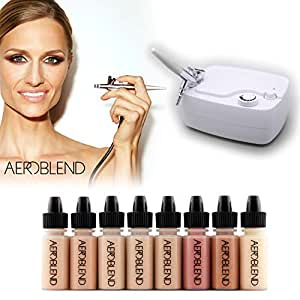 Aeroblend Airbrush Makeup Personal Starter Kit - Medium Foundation - With 8 Color Set