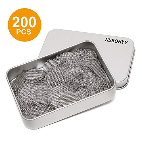 200pcs Pipe Screens Stainless Steel Screens, Premium 3/4 Inch Pipe Screen Filters with Metal Box