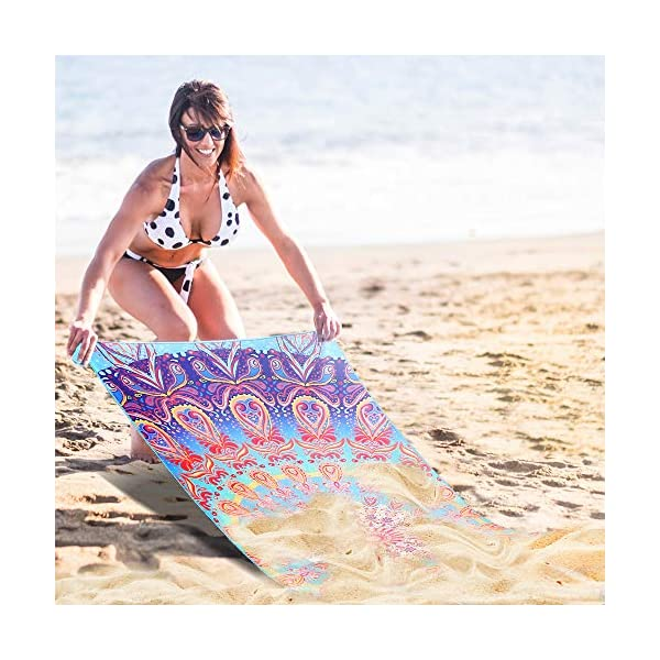 AtailorBird Telo Mare Grande Asciugamano da Spiaggia in Microfibra 150 * 75cm Bohemian Mandala Leggero Tasca Altamente… 6 spesavip