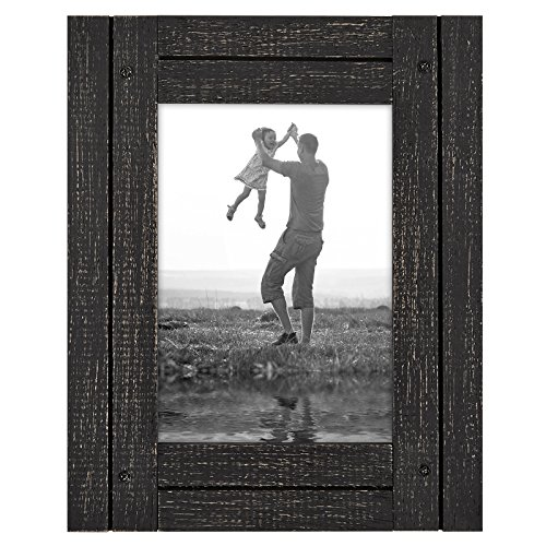 Americanflat 5x7 Charcoal Black Collage Distressed Wood Fram