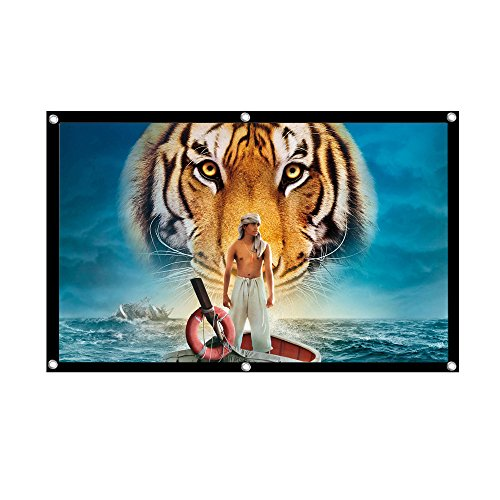 UTSLIVE Projector Screen 100 Inches 16:9 Polyester Portable Foldable Wall Mounted Cinema Front and Rear Simple Projection Screen For Home Theater Outdoor Office Classroom Movie Rear Projection Surface Video
