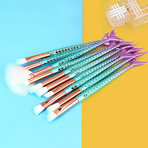 Kaputar Make up Kit Mermaid Makeup Brush Foundation Cosmetic Blush Face Powder Brush UK | Model MKPBRSH - 2587 | 10PCS #1