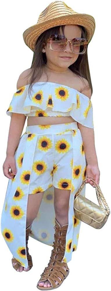 2 Pieces Todderl Girl Summer Strapless Outfits Sunflower Print Off Shoulder Top and Short Pantskirt Clothes Set 5T, White