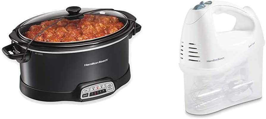 Hamilton Beach Portable 7-Quart Programmable Slow Cooker, Black (33474) & 6-Speed Electric Hand Mixer, Beaters and Whisk, with Snap-On Storage Case, White