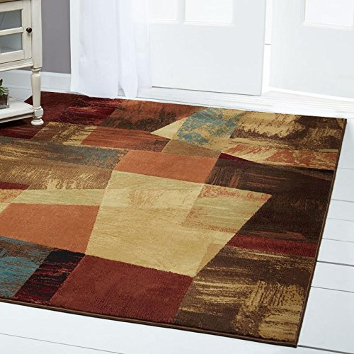 Home Dynamix Catalina Bismark Area Rug | Modern Living Room Rug | Abstract Square Design | Textural Brushstrokes | Brown, Beige and Red 5'3''x7'2'' by Home Dynamix (Image #6)