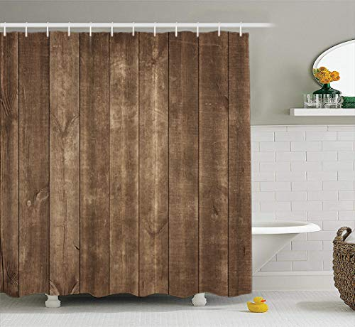 LILYMUA Wood Fabric Bathroom Shower Curtain, Old Wooden Rustic Style Wallpaper Timber Wood Brown with Bath Curtain Hooks Polyester Shower Curtain Waterproof Bathroom Decor 72X78 Inch