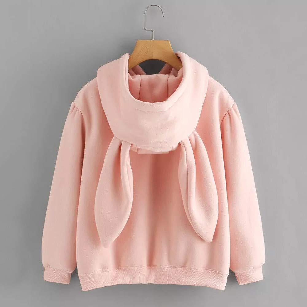 On Sale! Blouse for Women THENLIAN Womens Long Sleeve Rabbit Hoodie Sweatshirt Pullover Tops Blouse(Pink, S)