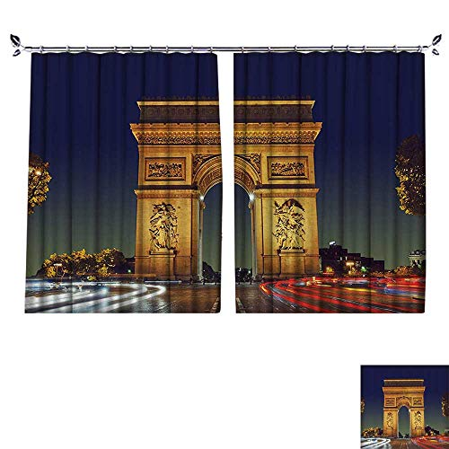 - PRUNUS Curtain with Hook Triomphe Paris France Tourist Entrance Roundabout Evening Sun Blackout Draperies for Bedroom,W63 xL45