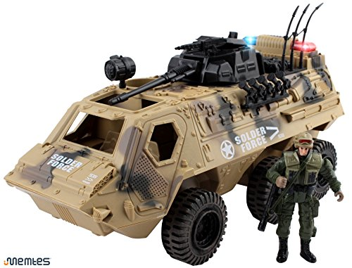 Memtes Military Fighter Army Truck Tank Toy with Mini Army Soldier with Lights and Sound (Christmas Toy Soldier)
