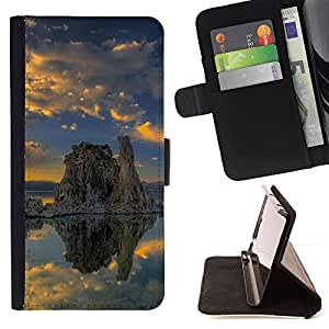 DEVIL CASE - FOR LG G2 D800 - Nature Lonely Rock - Style PU Leather Case Wallet Flip Stand Flap Closure Cover