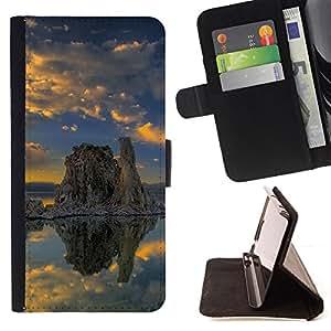 For HTC DESIRE 816,S-type Naturaleza solitaria roca- Dibujo PU billetera de cuero Funda Case Caso de la piel de la bolsa protectora