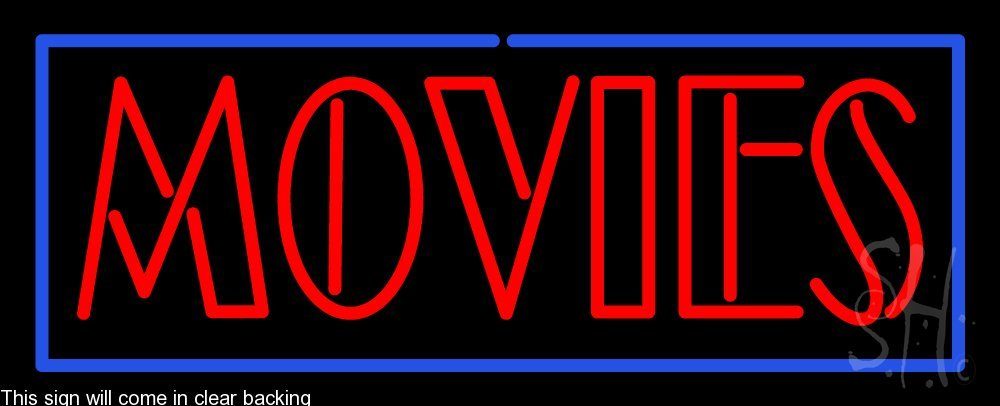 Movies Clear Backing Neon Sign 13'' Tall x 32'' Wide