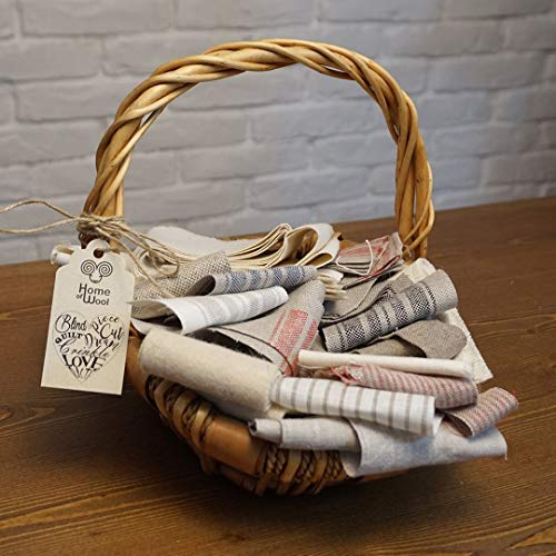 Mixed or Sorted Fabric Scrap Bag/Remnants / Quilting and DIY Bundle/ 100% Natural Pieces Linen, Cotton, Wool, Lambswool and Mulberry Silk Fabric/Solid or Striped Color/Various Sizes ()