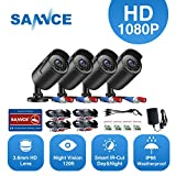 SANNCE 4 Metal Security Camera Kits 1/2.7'' 1080P(2MP) AHD Video Security Surveillance CCTV Camera with 100ft Night Vision, 3.6mm Lens Outdoor/Indoor IP66 Weatherproof(Pack of 4)
