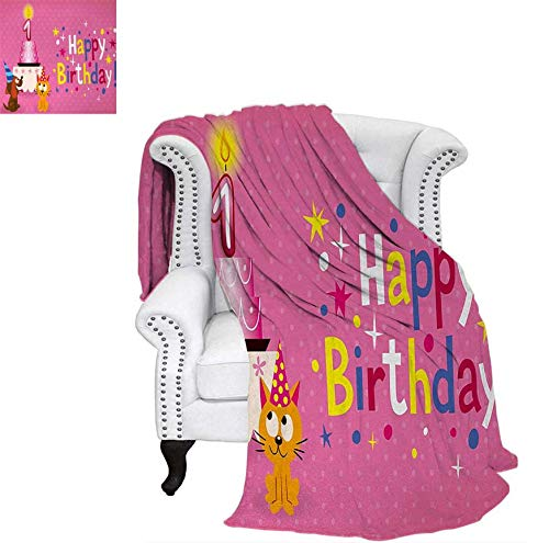 Ghillie Ultralight (Nicely 1st Birthday Throw Blanket Animal Party with Sweet Cat and Dog on Pink Color Polka Dot Abstract Backdrop Swaddle Blanket 60 x 50 inch Multicolor)