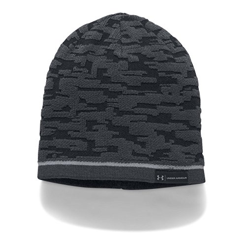 Black Reversible Beanie Cap (Under Armour Men's Reversible Graphic Beanie, Black (001)/Steel, One Size)