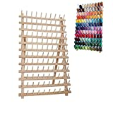 ROSENICE 120 Spool Stand Thread Holder Wooden Rack Thread Organizer Foldable Cone