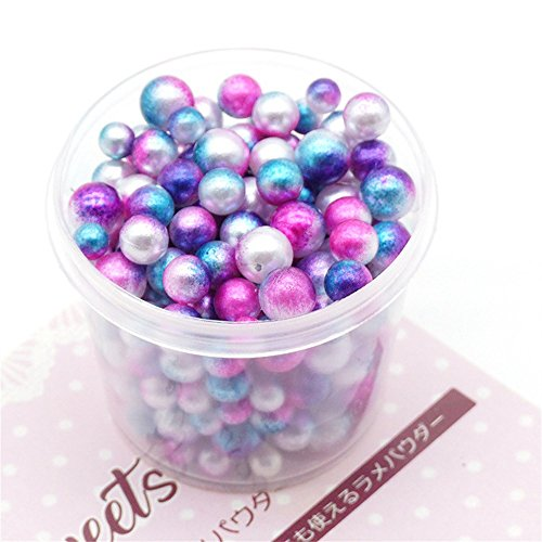 callm Slime Clay Toy,200PCRainbow Colorful Pearls Decorative Slime Beads DIY Craft for Crunchy Slime