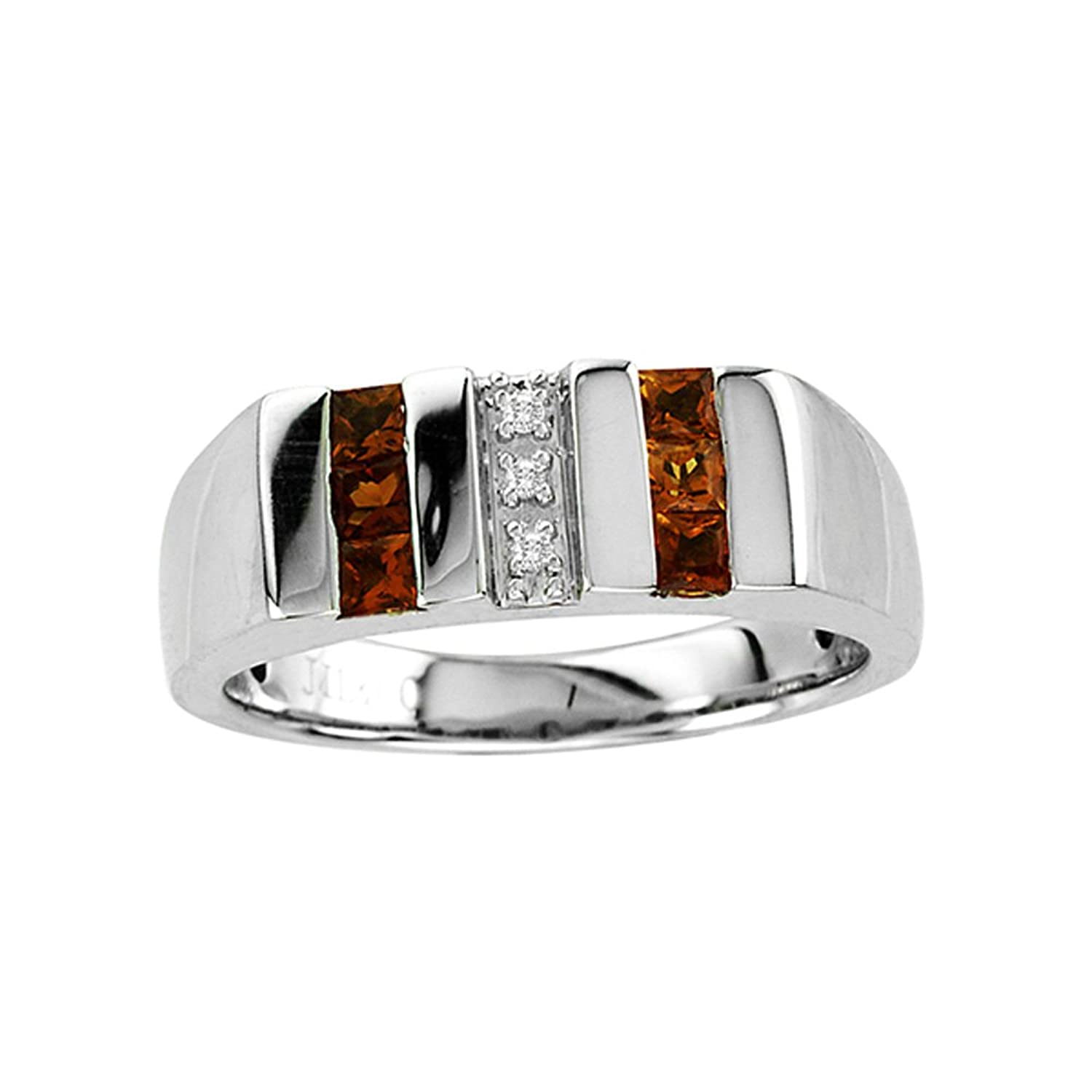 Men's January Birthstone Garnet and Diamond Ring In Sterling Silver