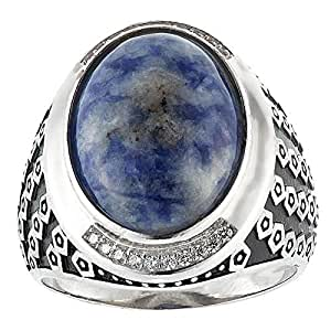 Aurora Men's Silver Aqeeq Blue Ring