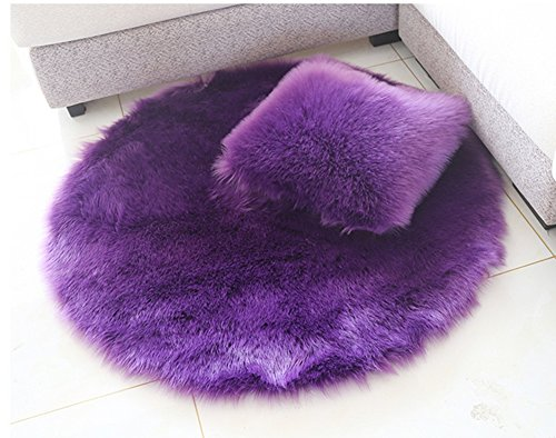 Meng Ge Faux Sheepskin Round Area Rug Silky Shag Rug Fluffy Carpet Rugs Floor Area Rugs Decorative for Living Room Girls Bedrooms Purple 2ft by Meng Ge