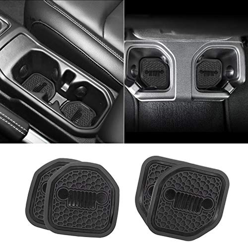 Auovo Auto Cup Holder Inserts Coaster Fit for 2018 2019 Wrangler JL JLU 2020 Gladiator JT Cup Mat Pad Interior Decoration Accessories (4 Pcs Kit) (Black)