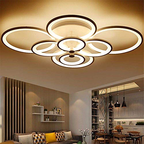 (BOSSLV Control Living Study Room Bedchamber Modern Led Chandelier White or Black Surface Mounted Led Chandelier Fixtures,White,8 Heads)