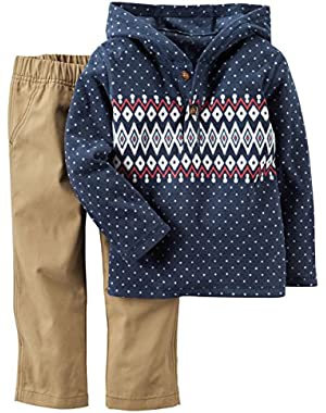 Carter's Baby Boys 2 Piece Playwear Sets, Navy Fleece/Khaki, 3M