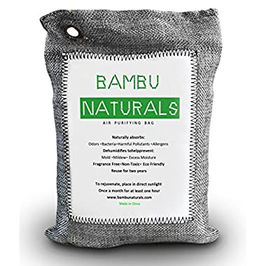 Natural Air Purifying Bamboo Charcoal Bag 250g – Money Back Guarantee - Fragrance FREE – Absorb, Neutralize and Remove Odors Great for Baby Room, Pets, Bathroom, Fridge, Storage, Closet, Home, Kitchen, Car, Luggage, Sports – Dehumidify to Prevent Mold and Mildew – Eco-friendly MOST EFFECTIVE Bambu Naturals Non-toxic Air Freshener