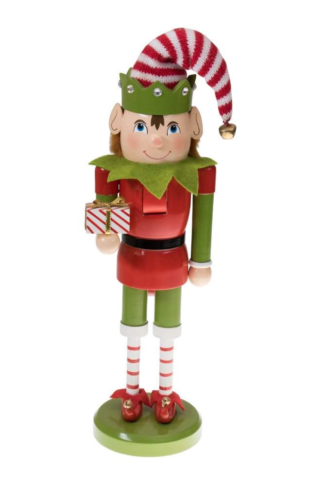 Santa's Elf Nutcracker by Clever Creations | Red and Green Outfit and Holding Gift | Great for Any Collection | Festive Christmas Decor | Perfect for Shelves and Tables | 100% Wood | 14'' Tall