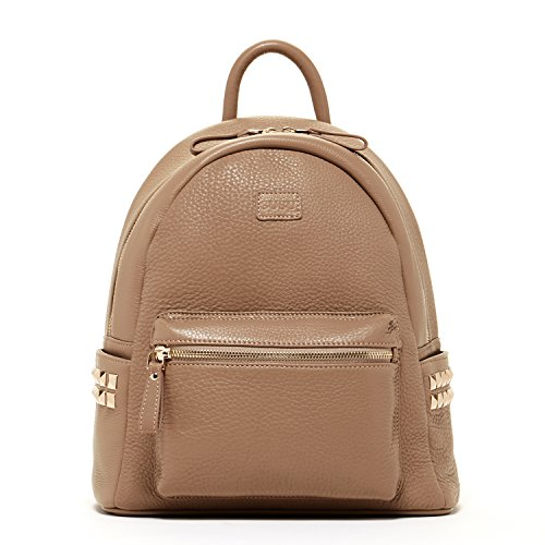 SUSU Real Leather Backpack For Women With Studs Dark Beige Purse With Front and Side Pockets and Zipper Front Pocket Leather Backpack Style Purse Tan Genuine Pebble Leather Taupe Designer Handbags by SUSU