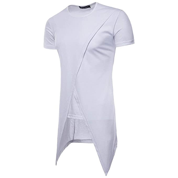 Amazon com: New Summer Men's Short-Sleeved T-Shirt Irregular Long T