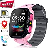 [New Version] Smart Watch for Kid GPS Tracker/Free SIM Card/Two-Way Call SOS Anti-Lost Games Camera/Child Watch for Boy Girl Toddler 3-12 Years Old/1.44 Inches Touch Screen Kid Phone Watch Android iOS