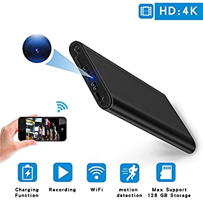 Wifi Hidden Spy Camera HD 4K Mini Home Security Cam Night Vision Motion Detection Video Recorder 10000mAh Power Bank for Home, Office, Car by Youlanda