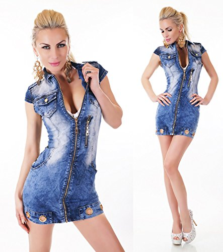 TG XS M corta doppio manica jeans blu L S tessuto XL dress abito militare sexy q7wvUzv