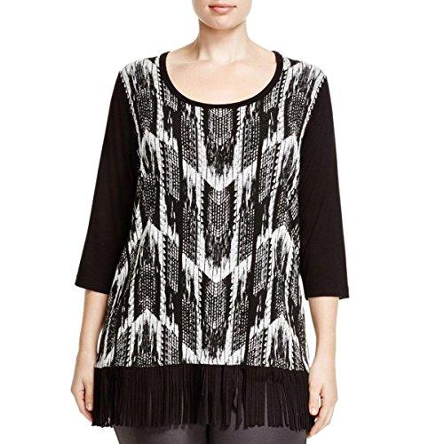 Karen Kane Women's Plus-Size 3/4 Sleeve Fringe Tee, Bow, 2X