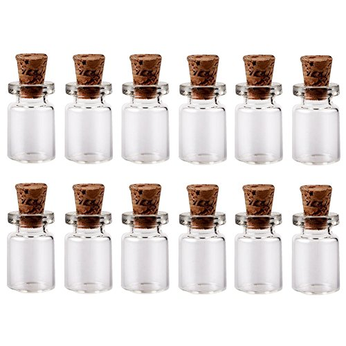 Message Bottle Wedding Invitations - LEFV™ 0.5ml Small Bottles Transparent Mini Glass Jars with Cork Stoppers Top - Message Weddings Wish Jewelry Pendant Charms Kit Party Favors - Pack of 50