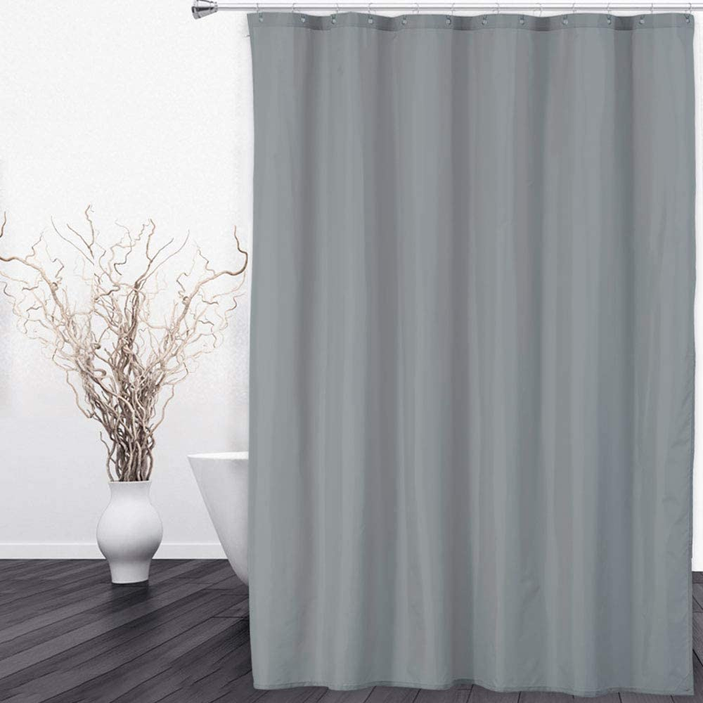 CAROMIO Fabric Waterproof Shower Curtain Liner with Magnets, Hotel Quality Polyester Fabric Shower Curtain Liner for Bathroom, 72 x 72 inch, Grey