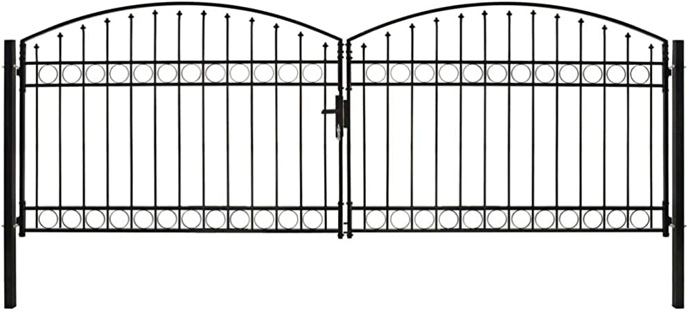 guyifuzhuangs Vallas de jardín Puertas de jardínCancela de Valla Doble Puerta con Arco 400x125 cm Acero Negro: Amazon.es: Hogar